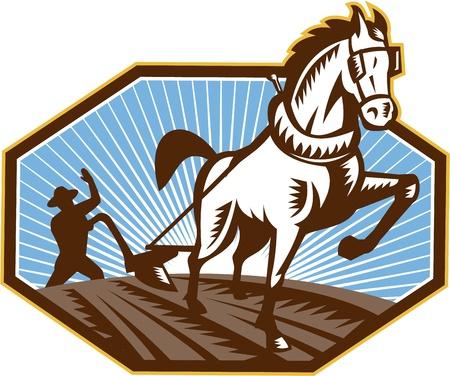 arando: Ilustración de los agricultores y el campo arado caballo hecho en estilo retro Vectores
