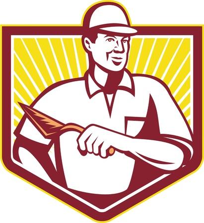 Ilustración de un yesero masón trabajador de la construcción llana wth solador conjunto dentro de escudo escudo hecho en estilo retro