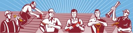 Illustration von Heimwerker-Profis, die ein Elektriker, Dachdecker, Bauarbeiter Dach, Fliesenleger, Gipser, Maurer Arbeiter, Klempner, Gärtner, Landschaftsgestalter und Baumeister Schreiner im Retro-Stil