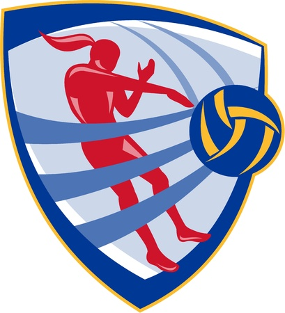 hitting: Illustration of a volleyball player spiker spiking hitting ball set inside crest shield done in retro style