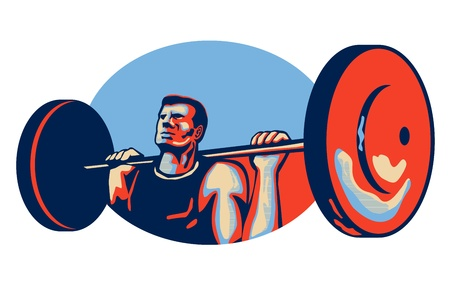 lifting weights: Illustration of a weightlifter lifting weights viewed from low angle done in retro style  Illustration