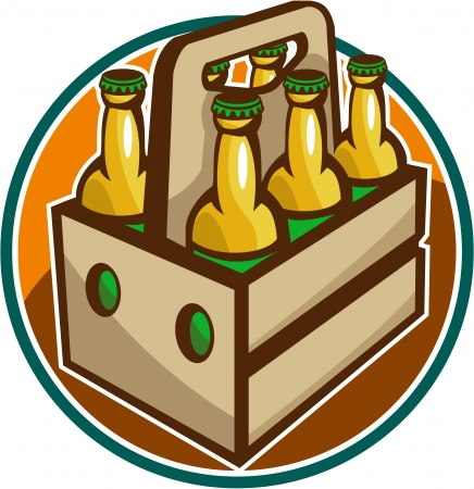 Illustration of a 6 pack case crate of beer set inside circle done in retro style. Illustration