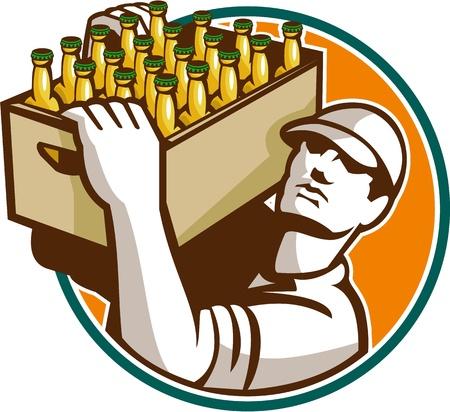 estuche: Ilustración de estilo retro de un trabajador social que lleva camarero de cerveza mirando hacia arriba dentro de círculo sobre fondo blanco aislado.