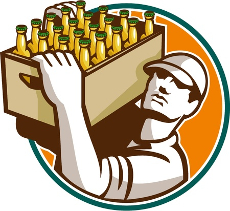 Retro style illustration of a bartender worker carrying case of beer looking up set inside circle on isolated white background.