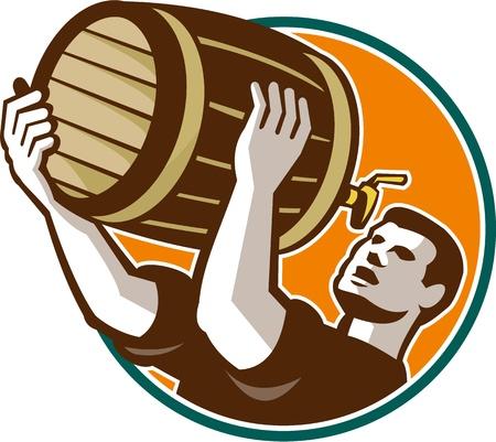 격리 된 흰색 배경에 원 안에 설정 맥주 마시는 통 통을 붓는 바텐더의 레트로 스타일 그림.