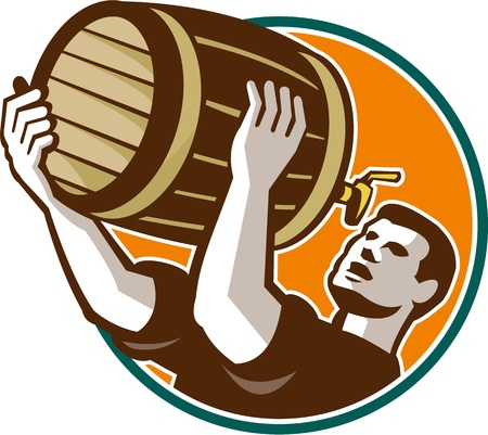 drinker: Retro style illustration of a bartender pouring keg barrel of beer drinking set inside circle on isolated white background. Illustration