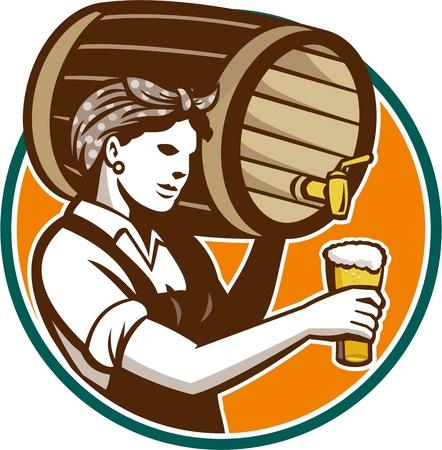 Retro-stijl illustratie van een vrouwelijke vrouw barman gieten vaatje vat bier in pint glas set binnen cirkel op een witte achtergrond.