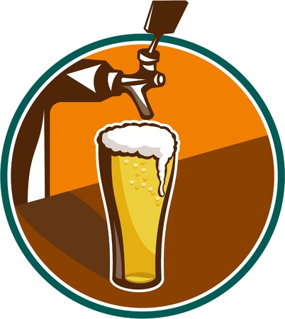 Illustration of glass pint of beer with tap in background set inside circle.
