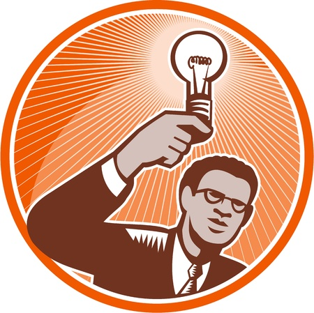 incandescent: Illustration of a businessman facing front holding up a lightbulb light bulb incandescent lamp light done in retro woodcut style set inside circle. Illustration