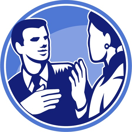 Illustration of a male office worker businessman talking and in discussion with female colleague done in retro woodcut style set inside circle. Stock Vector - 21699922