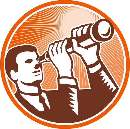 Illustration of a businessman facing front looking holding telescope lens done in retro woodcut style set inside circle.