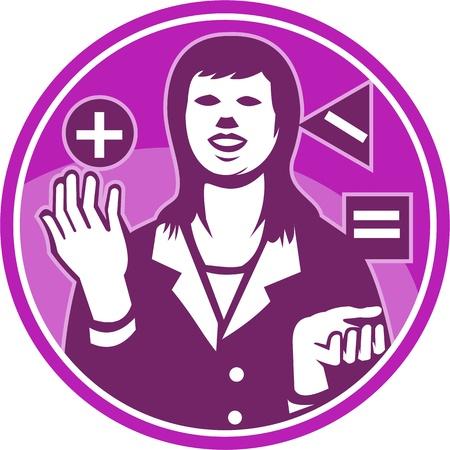 equals: Illustration eines weiblichen B�roangestellten Gesch�ftsfrau nach vorne Jonglieren Quadrat Dreieck Kreis mit positiv negativ Gleichheitszeichen in retro Holzschnitt Stil innerhalb Kreis getan gesetzt. Illustration