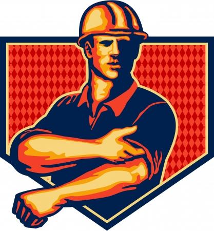 Illustratie van een bouwvakker dragen helm oprollen koker naar de voorkant set binnen schild gedaan in retro stijl
