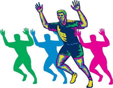 runner up: Illustration of a happy marathon runner running with hands up done in retro style on isolated white background Illustration