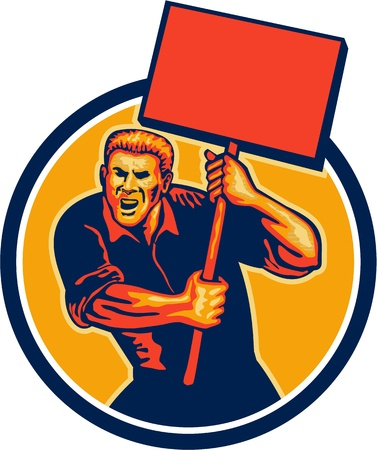militant: Illustration of a militant protester activist unionist union worker striking holding up a placard sign shouting done in retro style set inside circle. Illustration