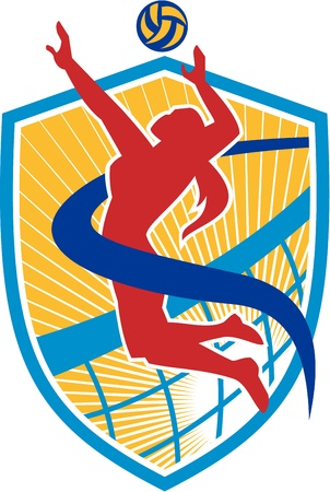 Illustration of a volleyball player spiker spiking hitting ball set inside crest shield with net done in retro style.