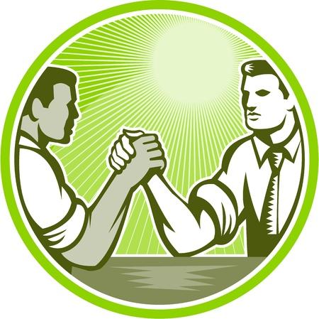레트로 woodcut 스타일을 이루어 원 안에 측면 집합에서 본 팔 레슬링에 종사하는 두 사업가 임원 노동자의 그림입니다.
