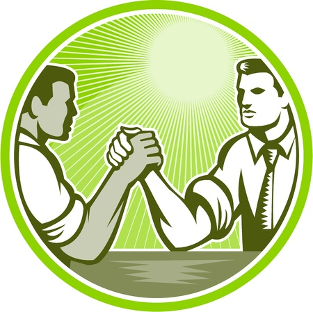 Illustration of two businessman officer worker engaged in an arm wrestle viewed from side set inside circle done in retro woodcut style.