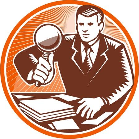 円の内側に設定レトロな木版画のスタイルで行わ紙の書類の山を見て虫眼鏡レンズ検査を保持しているビジネスマンに直面してフロントのイラスト