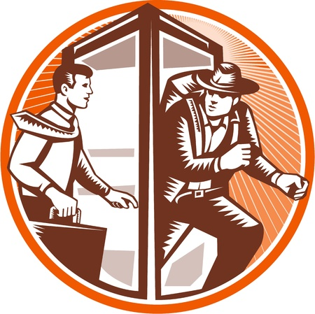 carrying out: Illustration of an office worker businessman carrying attache case walking into phone booth changing coming out as  an adventurer explorer archaeologist with backpack done in retro woodcut style set inside circle.