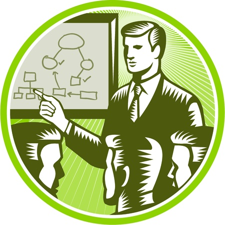 boardroom: Illustration of a male presenter office worker businessman talking presenting making presentation to boardroom with colleagues white board with diagrams and mind maps in background done in retro woodcut style.