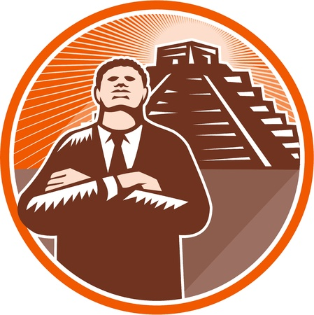 Illustration of an african-american businessman with arms folded looking forward protecting ancient site pyramid in South America. Stock Vector - 21699984