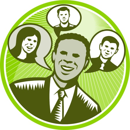 Illustration of a black african american businessman facing front smiling with speech bubble with happy people inside done in retro woodcut style set inside circle. Stock Vector - 21699985