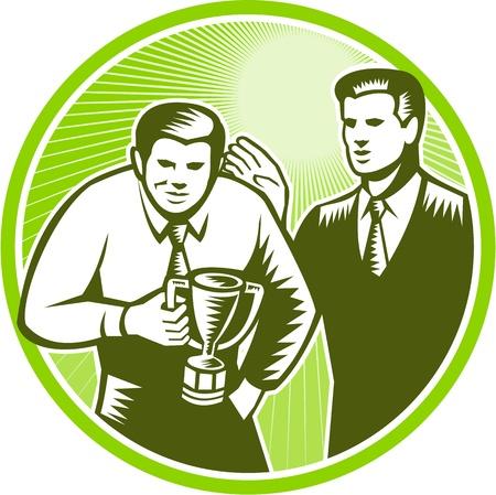 felügyelő: Illusztráció egy irodai dolgozó üzletember néző, első győztes trófeát csésze megveregette a vissza felügyelő vezetője végzett retro stílusú fametszet meg benne kör.