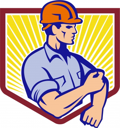 tradesman: Illustration of a construction worker wearing hardhat rolling up sleeve facing side set inside shield done in retro style