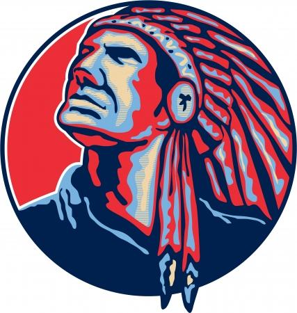 indian chief headdress: Illustrazione di un capo indiano nativo americano, cercando con copricapo impostato in cerchio su sfondo bianco isolato.