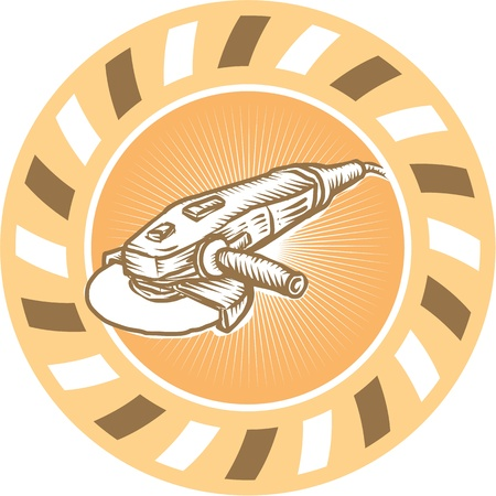 Illustratie van een haakse slijper ook wel bekend als een kant molen of schijf grinder powertool instellen in cirkel met sunburst gedaan in retro stijl. Stock Illustratie