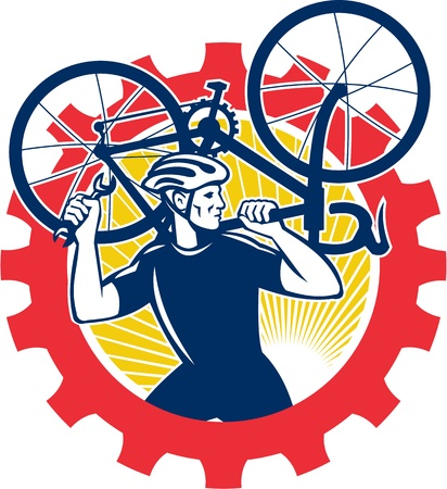 sprocket: Illustration of a cyclist bicycle mechanic carrying racing bike on shoulder holding spanner wrench looking to side set inside cog mechanical gear sprocket done in retro style.