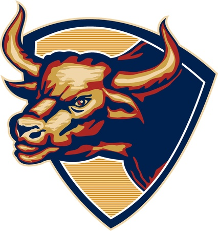 Illustration of an angry raging bull head facing to side set inside crest shield done in retro style. Vector