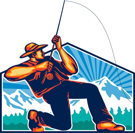 Illustration of a fly fisherman fishing casting rod and reel reeling viewed from with trees and snow mountains in background done in retro style