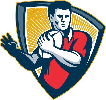 Illustration of a rugby player running with the ball set inside crest shield done in retro style. Vector