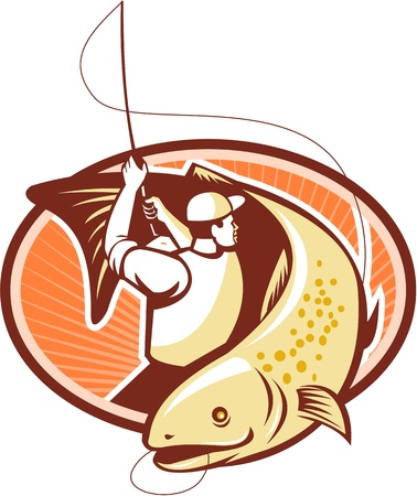 fly fishing: Illustration of a fly fisherman casting rod and reel reeling and rounding up a trout fish done in retro style