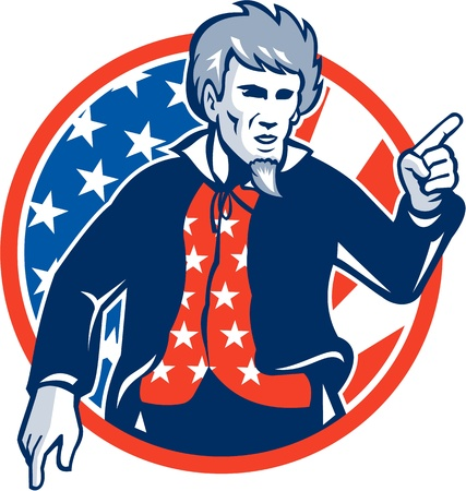 Illustration of Uncle Sam pointing a finger at you set inside circle with stars and stripes American flag viewed from front. Vector