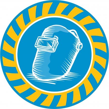 visor: Illustration of a welders welding helmet visor done in retro woodcut style set inside circle.