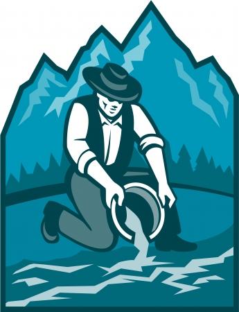prospector: Ilustración de un buscador de oro prospector minero con bandeja de lavado de oro en el río Vectores