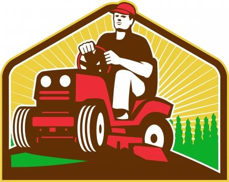Ilustración de retro jardinero de sexo masculino del estilo de conducción paseo en cortadora de césped