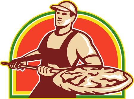 Ilustración de un panadero sosteniendo un peeling a piza