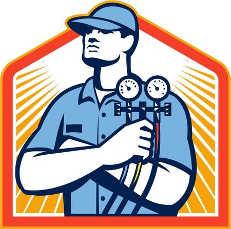 mekanik: Illustration av en kyl- och luftkonditionerings mekaniker håller en tryck temperaturmätare framifrån satt inne sköld på isolerade på vit bakgrund