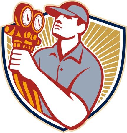 Illustration eines Kälte-und Klimatechnik-Mechaniker hält einen Druck Temperaturanzeige Vorderansicht innerhalb Schild auf isolierte auf weißem Hintergrund Illustration