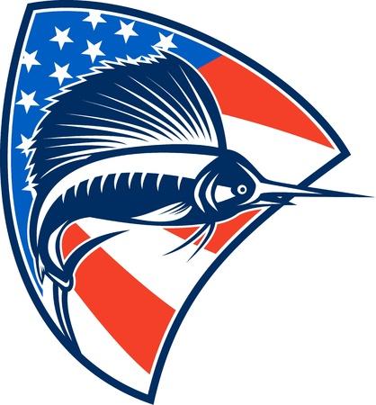 sailfish: Illustrazione di un pesce che salta con pesce vela americana di stelle e strisce di bandiera in set sfondo all'interno scudo