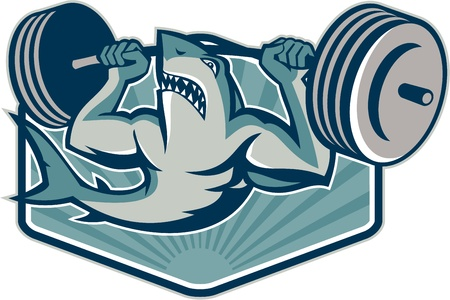 weightlifter: Illustration of a shark weightlifter lifting weights barbell viewed from front