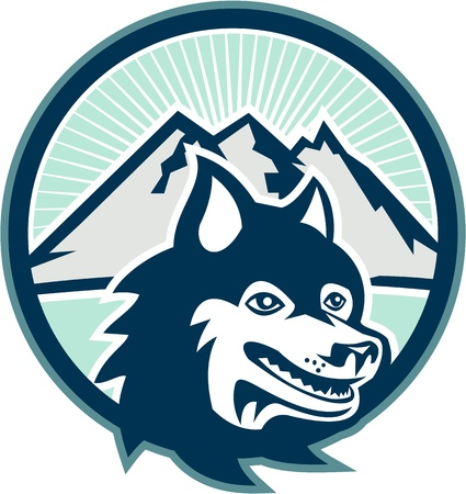 huskies: Illustration of a Siberian Husky dog with mountains in background set inside circle on white background  Illustration