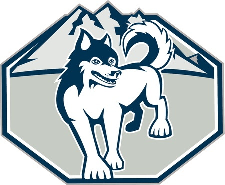 huskies: Illustration of a Siberian Husky dog with mountains in background set inside octagon shape on white background