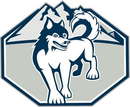 huskies: Ilustraci�n de un perro Husky siberiano con monta�as en segundo plano dentro de la forma del oct�gono sobre fondo blanco