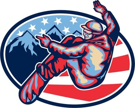 Illustrazione di uno spin snowboard salto sullo snowboard impostato all'interno ovale con alpine montagne delle Alpi e americane stelle e strisce di bandiera in background