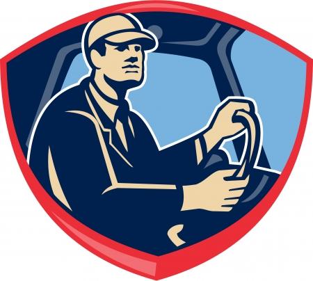 Ilustración de un autobús o el conductor conductor del camión en el interior del vehículo visto desde el lado del conjunto dentro de escudo cresta